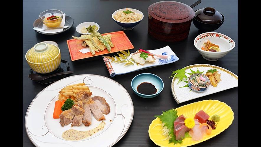 【夕食の一例】竹会席:地元の食材を使用した旬の会席料理となっております。