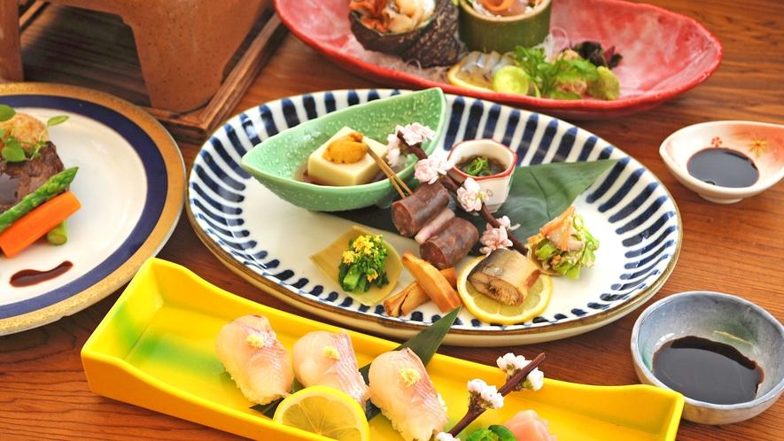 【夕食の一例】雅会席:四季折々の食材を使用しております。