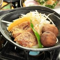 夕食_味噌漬豚肉陶板焼き