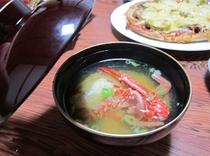 夕食 一例 ≪かにの味噌汁≫ ※日によって味噌汁の内容が変更になります。