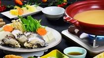 季節会席 冬「曙」相生産カキと旬野菜の柚子味噌出汁鍋