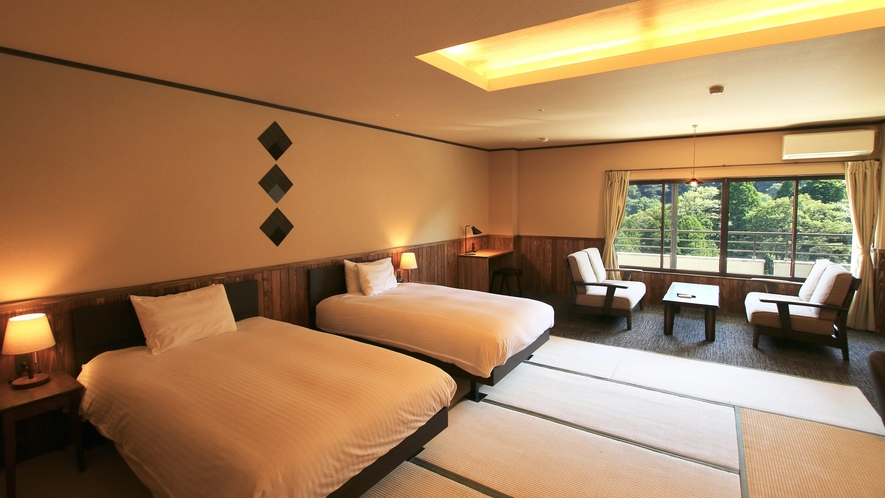*【2021年リニューアル】ベッド付モダン和室12.5畳◆シャワー付