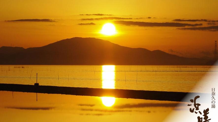 浜膳旅館からの夕日