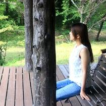 【テラス】阿蘇の自然いっぱいの空気を取り込んでリフレッシュ♪
