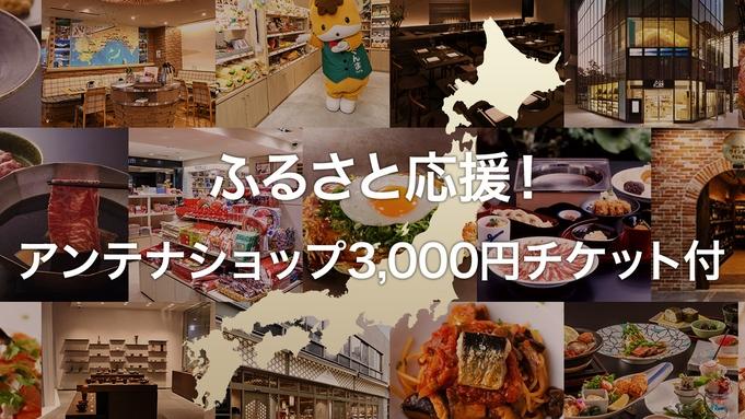【アンテナショップ等で使える3千円チケット付き】ホテルに泊まってふるさと応援プラン