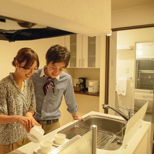 全室キッチン完備!調理器具も一通り取り揃えております。