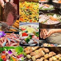 【食事】和洋中50種以上がずらり!シュラスコや握り寿司、手作りパスタ、サラダバーなど