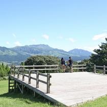 敷地内展望台より 阿蘇五岳の絶景