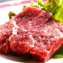 夕食 あか牛のステーキ