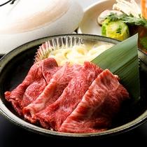 夕食 あか牛のすき焼き