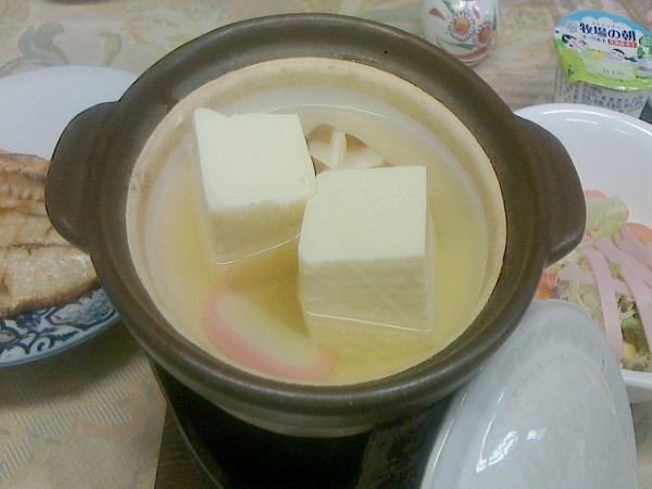 朝食〜富士の名水で作った湯豆腐