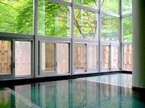 男性内風呂/ガラス張りから見る新緑