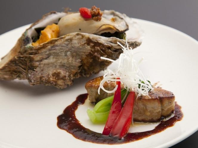 「秋」 「三陸産・牡蠣とフォアグラのステーキ」