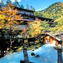 ◇秋・混浴野天と外観建物