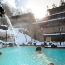 ◇冬・朝日が差し込む混浴野天
