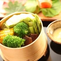 ◇【田舎会席】信州特産の温野菜。チーズソースを添えて。