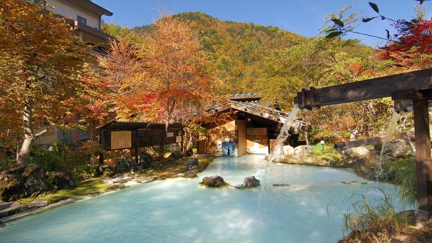 ・【秋】紅葉に包まれる混浴大野天風呂