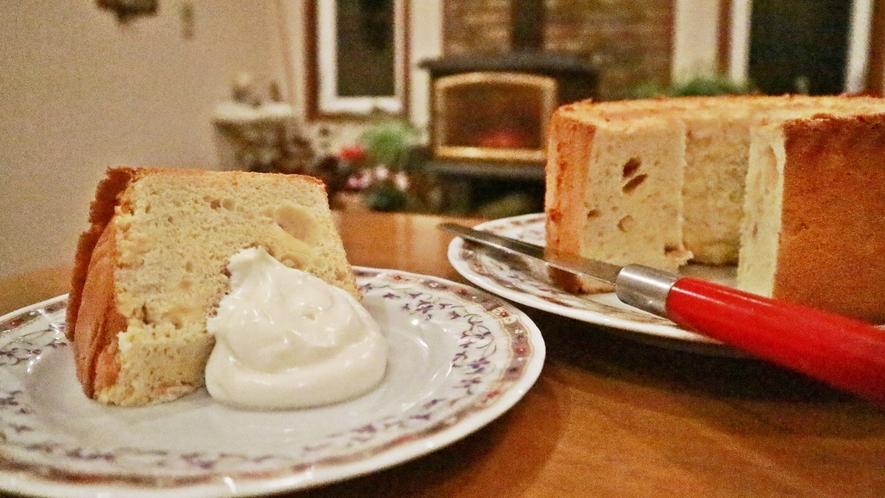 *夕食一例/当館自慢のシフォンケーキを御賞味下さいませ♪