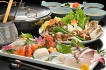 旬の魚と地元の新鮮なお野菜が美味しい海鮮しゃぶしゃぶ。お好みでポン酢やゴマダレを付けていただきます。