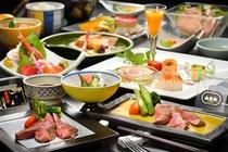 山形牛と米沢牛、2種類のお肉が食べられる食べ比べプラン。上質な肉の味わいを楽しむ贅沢なひとときです。