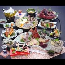 鮑・伊勢海老・蟹を始めとした華やかな彩の『島の膳』*春*お料理一例*