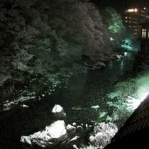☆利根川を臨む客室からの眺め(冬・夜のライトアップ)