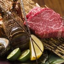鉄板焼『伊勢海老、蝦夷鮑と音更町すずらん和牛コース』<21000円>素材本来の味をお愉しみください。