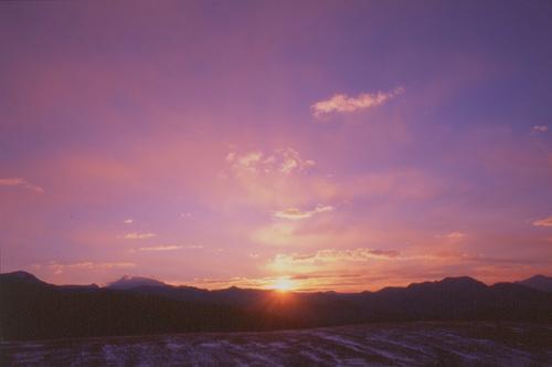 牧草地の朝焼け