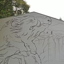 <和気神社>高さ8m、幅10mの日本一の大絵馬。猪が和気清麻呂の守護神になっています