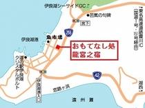 【アクセス地図】国道259号線沿い。フェリー乗り場近く。