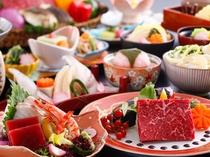【レストラン/基本会席】メインの鉄板焼は牛又は魚介からチョイス~(一例)