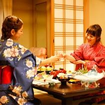 【部屋食】夕食はお部屋で誰にも気兼ねなくゆっくりと楽しめる