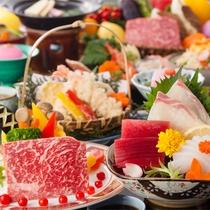 【レストランスタンダード】メインの鉄板焼きは牛又は魚介からチョイス(一例)