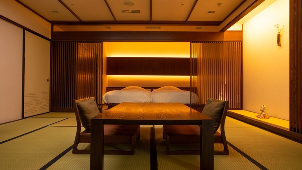 【源泉掛け流し半露天風呂付き客室】快適な眠りと温泉の和洋室
