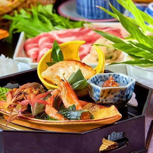 ~人気No1サーロイン会席~ 上州牛サーロインステーキをメインに群馬野菜も楽しめる。当館人気お料理。