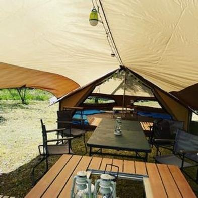 温泉入り放題!昼神温泉でキャンプ体験! 「ひるがみの森」グランピング(屋外テント)宿泊プラン