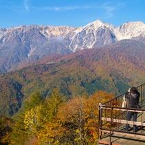 *秋の景色/紅葉のバックには北アルプスの雪化粧、これが名物「三段紅葉」です!