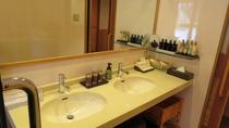 露天風呂付特別室内の洗面所