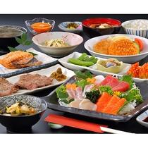 夕食一例 仙台名物牛タン+三陸の刺身プラン