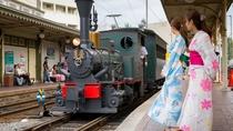 """■女子旅(坊ちゃん列車)■松山市を走る""""坊ちゃん列車""""はぜひ見たいものの1つ★"""