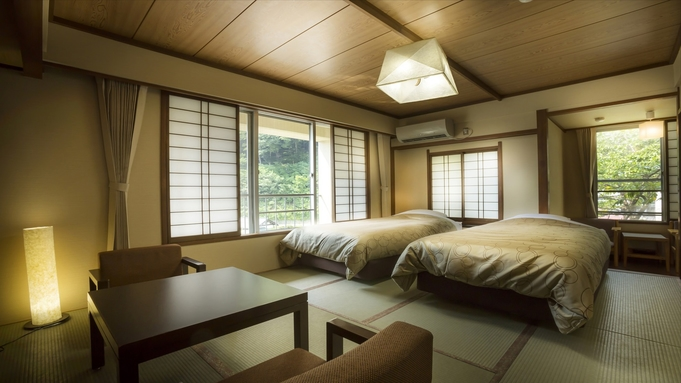 【寛ぎの和室×「シモンズ」社ツインベッド】素敵な和モダン♪素泊まりプラン WIFI完備