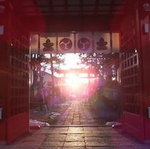 ◆生島足島神社◆『冬至の日の入』