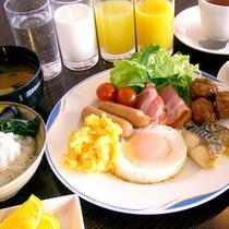無料朝食バイキングの一例