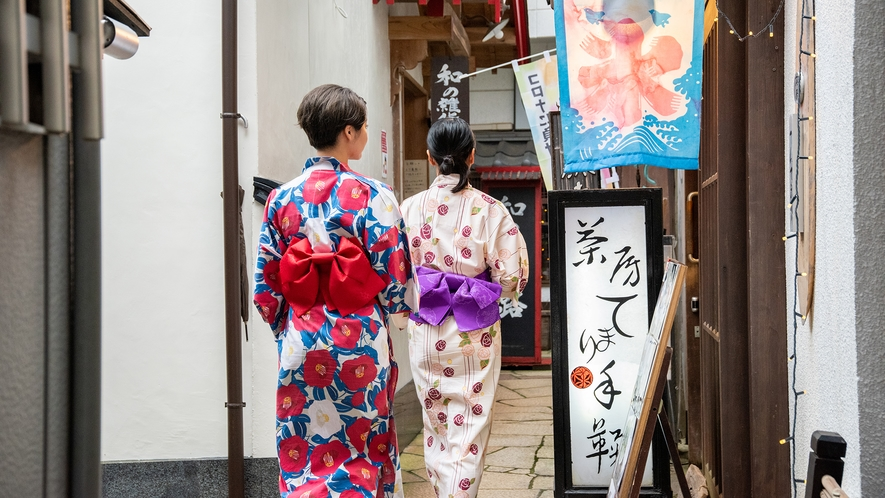 *【周辺散策】色浴衣で石段街を散策(茶房 てまり、てんてまり)