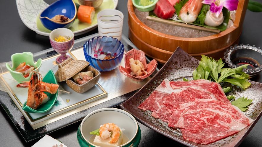 *【夕食一例】上州牛メインの湯山会席(露天風呂付客室限定)