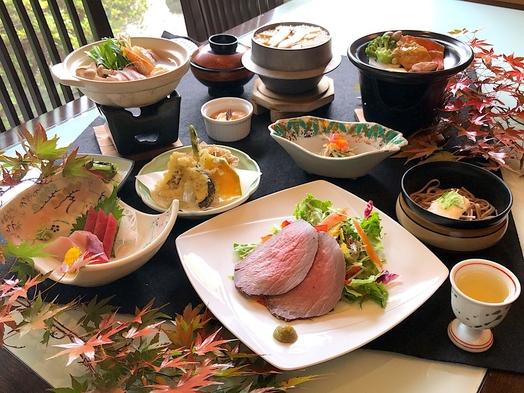 ◆【秋のお気軽会席】「松茸ご飯」と「鮭と白子のネギ味噌陶板焼き」「寄せ鍋」の夢膳全12品