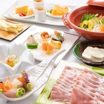 『新・しゃぶしゃぶコース』日田の特産豚肉でヘルシーな味わい『天領もち豚』を召し上がれ♪