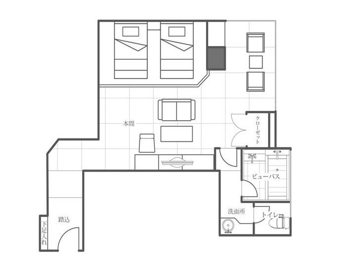 ビューバス付き和室ツインベッドルーム間取り一例