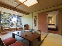 グループ宿泊にお勧め、コネクティングルーム(松林側和室と松林側洋室ツインベットルーム)