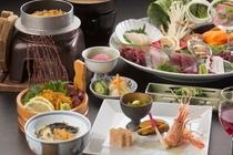旬の食材をお刺身やしゃぶしゃぶで三陸を味う和食膳一例